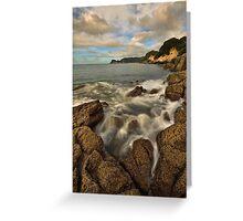 Waimama Bay Rocks Greeting Card