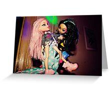 Pole Dancing Selfie Dolls Greeting Card