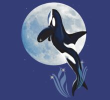 Leaping Orca and Moon by Lotacats