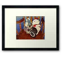 Rocking With Friends - Kitten resting with her stuffed animals Framed Print