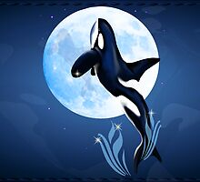 Leaping Orca and Moon Poster2 by Lotacats