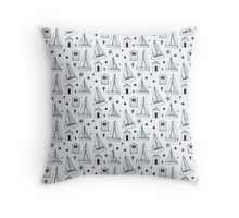 Blue Beach Hut and Sailing Boat Pattern Throw Pillow