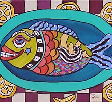 Fish On A Platter  SOLD by Deborah Glasgow