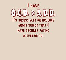 OCD & ADD - Maroon/White Womens Fitted T-Shirt