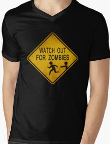 Watch Out For Zombies Mens V-Neck T-Shirt