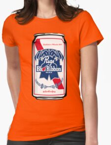 Pug Blue Ribbon Womens Fitted T-Shirt