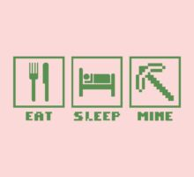 EAT SLEEP MINE MINECRAFT FUNNY Kids Clothes
