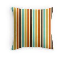 Vertical Stripes Retro Colors Blue Yellow Red Throw Pillow