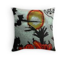 Spooky night to be outside!!  watercolor Throw Pillow