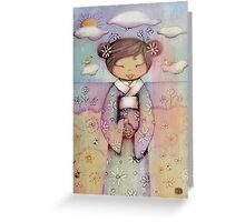 kokeshi flower girl Greeting Card