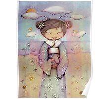 kokeshi flower girl Poster