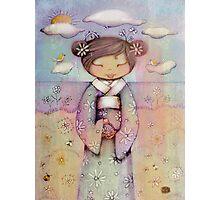 kokeshi flower girl Photographic Print