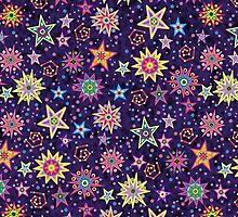 Folk Art Starry Sky psychodelic midnight by sumwoman