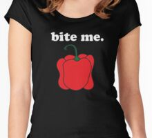 bite me. (red bell pepper) <white text> Women's Fitted Scoop T-Shirt