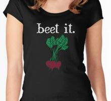 beet it. (beets) <white text> Women's Fitted Scoop T-Shirt