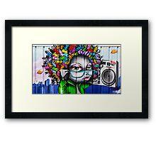 Afro Graffiti Boombox Framed Print