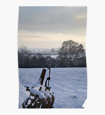 Plough in the snow Poster