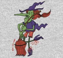 Crazy Witch Dancing with her Broomstick One Piece - Short Sleeve