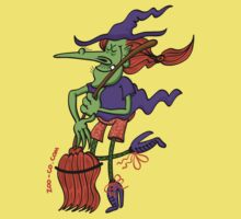 Crazy Witch Dancing with her Broomstick Kids Tee