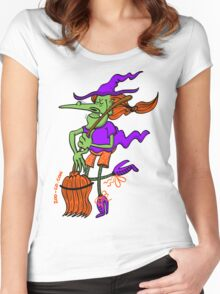 Crazy Witch Dancing with her Broomstick Women's Fitted Scoop T-Shirt