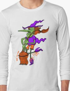 Crazy Witch Dancing with her Broomstick Long Sleeve T-Shirt