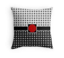 Half and Half Black White Polka Dots Red Circle Throw Pillow