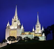 San Diego Temple Late Evening 20x30 by Ken Fortie