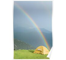 Rainbow over a tent Poster