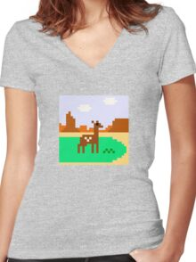 Deer in Meadow Women's Fitted V-Neck T-Shirt