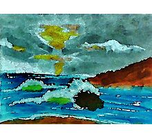 Stormy seas and sky, watercolor Photographic Print
