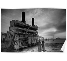 An irrigation engine in black n white for atomsphere Poster