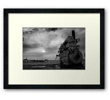 An irrigation engine, black n white for mood  Framed Print
