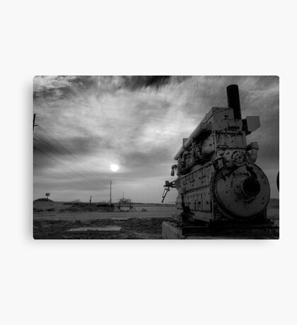 An irrigation engine, black n white for mood  Canvas Print