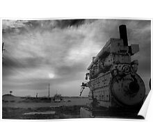 An irrigation engine, black n white for mood  Poster