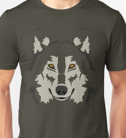 Simple Grey Wolf Vector Full Design Unisex T-Shirt