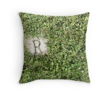 R in the grass Throw Pillow