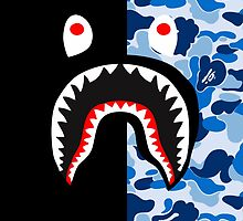 bape shark black blue by goldney09