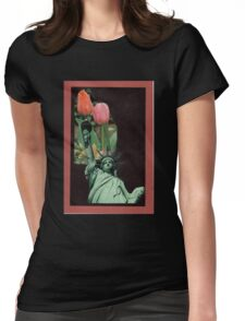 Lady Liberty Raising Tulips Womens Fitted T-Shirt
