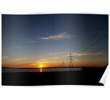Wind Farm Sunset Poster