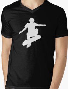 Skater Large - White Mens V-Neck T-Shirt