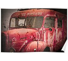 Vintage French Fire Engine with texture Poster