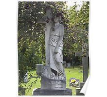 Norwood cemetary: Sculpture: Angel, crowned with fruit berries -(220811c)- Digital photo  Poster