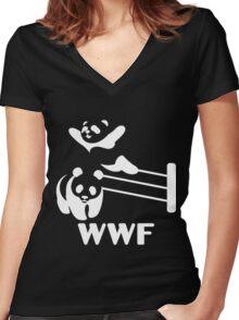 Funny Panda Women's Fitted V-Neck T-Shirt