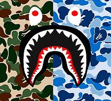 bape shark miltblue by goldney09