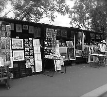 Souvenir stand by the Seine by acey77