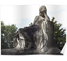 Norwood cemetary: Sculpture: Mournful Seated Woman -(220811a)- Digital photo Poster