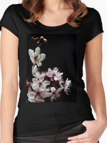 Beautiful blossoms on black Women's Fitted Scoop T-Shirt
