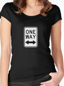 One Way Sign (Which Way?) Women's Fitted Scoop T-Shirt