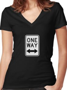 One Way Sign (Which Way?) Women's Fitted V-Neck T-Shirt