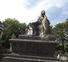 Norwood cemetary: Sculpture: Mournful Seated Woman -(220811b)- Digital photo by paulramnora